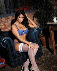 Charley looks sexy in her blue lace lingerie with white stockings Tube Porn Hot Babe